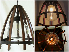 Medusa, recycled oak wine barrel staves & hoop pendant light with glass shade (irecyclart) Tags: lamp globe wine recycled barrel hanging pendant