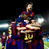 Barcelona's Lionel Messi celebrates scoring their second goal of the game with team-mate Dani Alves during the UEFA Champions League Semi Final First Leg soccer match, FC Barcelona Vs Bayern Munich at Nou Camp in Barcelona, Spain on May 6, 2015.