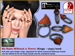 Bliensen - No Rose Without a Thorn - Rings (Plurabelle Laszlo of Bliensen + MaiTai) Tags: necklace gothic goth halo jewelry ring sl rings fantasy secondlife thorns rosethorn wgf bliensen