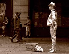 The Silver Cowboy (sjnnyny) Tags: newyorkcity streetscene tourists midtown timessquare pedestrians streetperformer busker cartooncharacter theaterdistrict publicentertainment pentaxk5iistamron2875f28