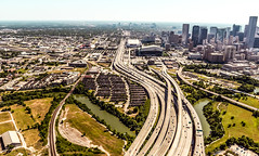 A view of Houston Highways. (The Sergeant AGS (A city guy)) Tags: 2013 aerialviews afternoon architecture highways houston houstoncouty memoirs minoltamaxxulens oldlenses sky slta77vsony street texas unitedstates walkways zoomxiaf28105 cityscape city exploration