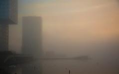Almere city (Alex Verweij) Tags: almere weerwater weerwind water mist misty fog foggy pier twintowers side by sidebyside alex verweij atmosphere sfeer alexverweij canon 5d markiii