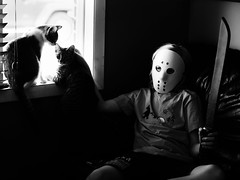 Just a crazed killer and his cats (Web-Betty) Tags: fridaythe13th halloween jameson niksilverefexpro thegoose bnw jason blackandwhite