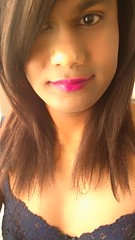Electra Pink (Lip Quench) (~*Haley*~) Tags: selfie blue bra bluebra pinklipstick crossdresser crossdressing shemale teenshemale teentrap trap tranny teentranny girl lingerie teencrossdresser
