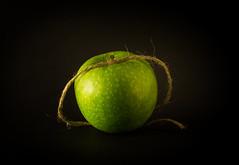 apple (Valery Parkhomenko) Tags: nikon d610 arsat 50mm apple twine abstract green fruit studio still decorations food house home kyiv ukraine texture bright black background ngc