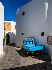 PA044711 Italy Sicily Panarea (Dave Curtis) Tags: panarea island 2013 em5 europe omd olympus blue truck white wall italy sicily