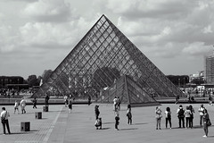 The Louvre pyramid (Mikey Down Under) Tags: thelouvre louvre art museum paris france francais glass pyramid building architecture landmark bw blackandwhite monochrome mono
