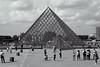 The Louvre pyramid (Mikey Down Under) Tags: thelouvre louvre art museum paris france francais glass pyramid building architecture landmark bw blackandwhite monochrome mono