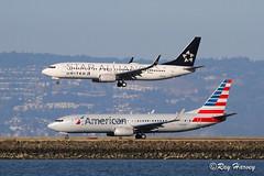 Boeing 737s at SFO (320-ROC) Tags: americanairlines american unitedairlines united staralliance n979nn n76516 boeing737 boeing737800 boeing737823 boeing737824 boeing 737 737800 737823 737824 b738 ksfo sfo sanfranciscointernationalairport sanfranciscoairport sanfrancisco