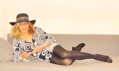 lazy on the sofa (Katvarina) Tags: hat kat crossdress crossdresser crossdressing transgender tgirl heels sofa metrosexuality
