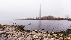 #47/52 The Richard L. Hearn Generating Station and the outer harbour, Toronto Portlands (PJMixer) Tags: 52weekproject nikon toronto dogwood52 dogwoodweek47 fall harbour historic industry lake landscape powerstation rocks trees