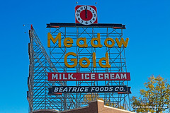 Meadow Gold with clocks (ezeiza) Tags: oklahoma ok tulsa meadowgold meadow gold sign scaffold route66 route 66 neon clock historic preservation restoration
