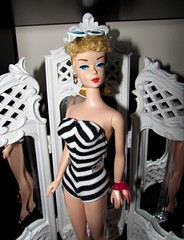 Sophisticated (Nickolas Hananniah) Tags: barbie barbiedoll bathing suit blackandwhiteswimsuite black white swim classicbarbie repro vanity sideglance 60s