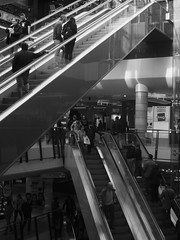 In The Belly Of The Beast (Ren-s) Tags: blackandwhite people personnes escaliers stairs mall centre commercial magasins shops bruxelles belgique europe metal inside indoor interieur