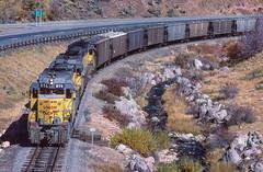 Climbing Wanship Canyon MP 17.70, October 5, 1985 (blair.kooistra) Tags: unionpacific gp30 parkcity webercanyon ogden echo utah utahrailroads branchlinerailroads