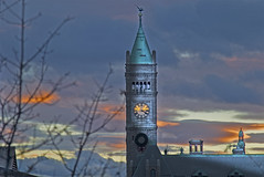 Lowell City Hall in Massachussetts, USA (macnetdaemon) Tags: outdoor outside cityhall lowell massachussetts city cityscape building sunset sky cloud twilight clock tower