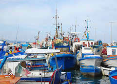 fishing boats (Brother's Art) Tags: fishing boat ship harbor water boats sky sea ocean fisherman harbour fish cloud calm vintage nature blue vessel commercial color trawler nobody horizon coast bay industrial industry
