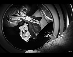 Laundry (Jeffrey Bos) Tags: blackandwhite bw selfportrait netherlands was flash laundry washing wasmachine wasgoed sigma1020