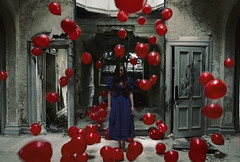 Lucid dreams (Subversive Photography) Tags: red art abandoned girl balloons mirror doors arch dress decay surreal atmosphere falling urbanexploration conceptual urbex danielbarter