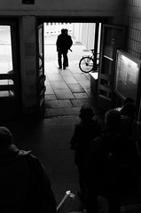2012/04/12 (Raphael Zydek) Tags: life door light people white black rot station bike silhouette architecture stairs standing train concrete doors shadows open wide going human rush cycle there hurry carrying chemnitz