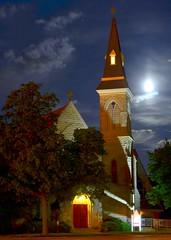Holy Moonrise ~ Sycamore, Illinois (Theresa*) Tags: door longexposure red moon church clouds illinois oneofakind steeple sycamore moonrise illinoisflickrjournal prettyfreakinsweet theillinoisdirectory nikond7000 postthebest onlythebestarememoriesthroughphotography