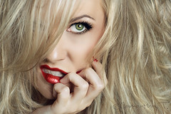 Mane (Samantha T.) Tags: red green eye girl hair big texas makeup lips nails blonde lipstick maybelline lipstain samanthatphotography