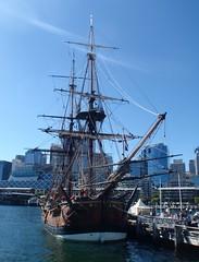museum boat dock sailing ship cole harbour sydney australia vessel replica fantasy maritime pirate wharf anchor scifi sail writer mast tallship author endeavour vassiliou colevassiliou