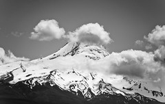 Mt. Hood B&W (Orbmiser) Tags: camping bw mountain clouds oregon portland spring nikon mt hiking peak mthood hood trilliumlake d90 55200vr