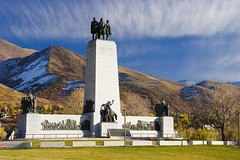 Pioneer Monument, Salt Lake City UT (Utah Images - Douglas Pulsipher) Tags: statepark travel tourism church monument statue trek religious utah ut view religion 19thcentury churches statues canyon saltlakecity valley views obelisk leader brighamyoung mormon pioneers migration obelisks monuments pioneer lds religions touristattraction mormons latterdaysaints nineteenth commemoration commemorating emigration commemorate thisistheplace dpuls olddeseretvillage