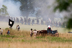 150th Civil War Reenactment of Gettysburg (.James Brian Clark) Tags: history soldier army fire rebel actors war gun military smoke union north 1800s meadow battle historic confederate flame gettysburg civil civilwar american weapon cannon vista artillery historical guns muskets recreation battlefield 1860s society yankee period reenactment chesapeake troops confederacy cavalry yanks discharge rebs musket howitzer southerners 2013 federals manasses gettysburgreenactmentmilitaryhistorical