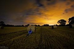 Baled Out (Rob Pitt) Tags: longexposure light field night cheshire fisheye moonlit pollution moonlight hay bales bale 8mm wirral samyang