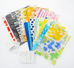 preparing for pass-case workshop (mayakonakamura) Tags: colour tokyo cafe acrylic gallery dress view clothes fabric workshop form nakamura rapu mayako hachioji modeste passcase caluson