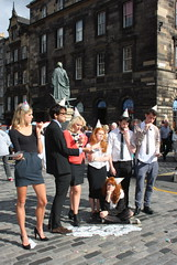Edinburgh Fringe 2013: On Hold (chairmanblueslovakia) Tags: street city festival scotland high edinburgh long legs capital royal scottish fringe mini skirt hold mile on