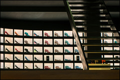 Stairway To Heaven (frischauge) Tags: light abstract holland color detail building geometric netherlands lines amsterdam shop architecture stairs dark 1 shoes colorful heaven paradise pattern order fuji purple geometry low deep surreal x noflash minimal line workshop architektur fujifilm 1855mm 1855 curve shape parallel ming rectangle fujinon gebäude available abstrakt ordered geometrie xf geometrisch xe1 explored thein flickrchallengegroup flickrchallengewinner xtrans xmount xf1855 wsabstract