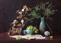 Transition (Esther Spektor - Thanks for 12+millions views..) Tags: blue autumn stilllife food brown white color reflection green art texture leaves yellow sepia composition canon golden beige ceramics branch pattern berries availablelight turquoise cluster ivory shell stilleben vessel fantasy bark vase imagination esther bouquet transition grape tabletop bodegon naturemorte dryleaves artisticphotography naturamorta naturezamorta coth creativephotography artdigital bej autumnseason slicesoftime artofimages exoticimage blinkagain eshterspektor