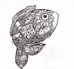 Two-Fish (artyshroo) Tags: life fish marine penink shroo zentangle wwwartyshrooblogspotcouk