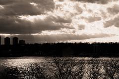 Easter Clouds Over the Hudson (johnruscombe1965) Tags: nyc newyorkcity usa ny monochrome weather clouds river landscape newjersey cloudy manhattan unitedstatesofamerica hudsonriver hudson westside cloudscape washingtonheights