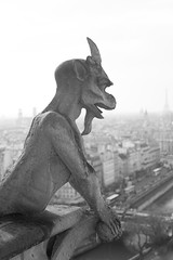 Notre Dame Cathedral, Paris (135pixels) Tags: old city urban sculpture paris france building tower art monster statue stone architecture french europe cityscape exterior looking view cathedral outdoor famous fear capital watching over evil statues overcast landmark eiffel notredame gargoyle horror demon devil notre dame awe overlooking staring chimera bizarre chimere