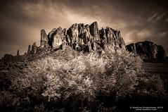 Superstition Mountains in sepia  at Lost Dutchman State Park (danilew) Tags: arizona sky plants usa mountain mountains nature sepia clouds flora nikon scenery ground foliage adobe land april nikkor bushes shrubs landforms hdr highdynamicrange shrubbery ridges d300 superstitionmountains 2015 lostdutchmanstatepark 18200mmf3556gvr hdrphotography nikon18200f3556 mergetohdr highdynamicrangephotography nikond300 danilew wwwdanilewcom lightroom5 lightroomcc