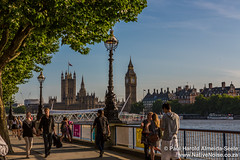 London's South bank (NativePaul) Tags: uk greatbritain summer england london sunshine thames river mom unitedkingdom britain mother july housesofparliament sunny bigben visit southbank gb me anapaula 2014