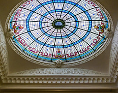 Stained glass dome and third floor roof detail at Boldt castle. (Gimo Nasiff) Tags: travel roof urban inspiration newyork detail building castle glass arquitetura architecture photography design arquitectura realestate unitedstates floor details stainedglass guillermo architectural lookingup stained dome third architektur architettura boldtcastle alexandriabay boldt copula архитектура wellesleyisland gimo アーキテクチャ 구조 nasiff