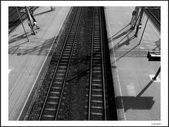 Platform 3 & 4 (frode skjold) Tags: railroad rails railway oslosentralbanestasjon perong platform blackwhite bw monochrome oslo norway norge fujifilmx20 photoshop14 photoshopelements14