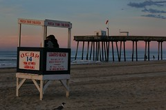 Early Morning Beach (chantsign) Tags: beach sunrise bluehour lifeguardstation sand pier ocean waves oceancity morning summer sky bird dawn light