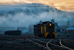 Switching by Morning (Wheelnrail) Tags: cbl conemaugh black lick railroad sw7 switcher locomotive emd johnstown pennsylvania railway fog church spires yard rails hills mountains