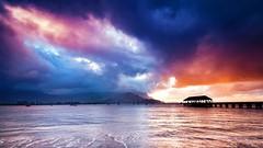 Glow (Kalyana Kavuri) Tags: clouds sky water blue sea sun beach sunset travel landscapephotography beautiful cloudscape colors hawaii kauai hanaleibay longexposurephotography longexposure wide angle glow mountains reflections