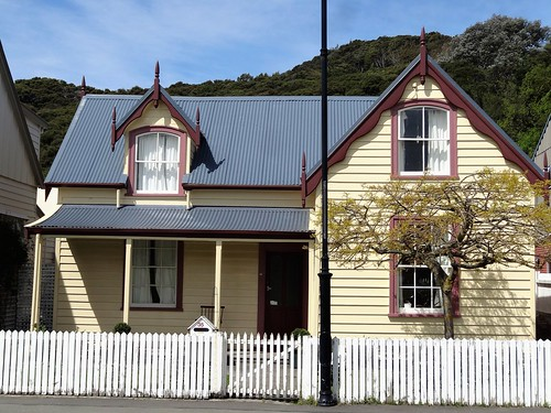 Akaroa the French settlement on the banks Peninsula. A quaint old cottage in Rue Lavaud.