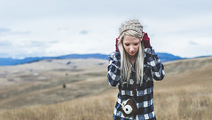 The Open Space. (vanessa.smith) Tags: mountains field wander flannel blue polaroid blondehair hike camping wanderlust adventure red hat montana portrait selfportrait