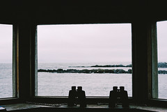 (aclaudine) Tags: 35mm film colors sea watchtower binoculars window nature naturallight view iceland canon