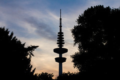 - Silhouette Television Tower - (Mr. LookUP) Tags: sunset colorful unique urban park nature trees 2016 germany hamburg shadows silhouttes