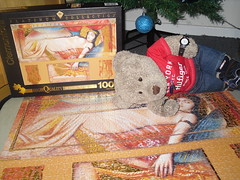 Censored! (pefkosmad) Tags: jigsaw puzzle clementoni 1000pieces complete cleopatra cleopatraasleep modern art painting contemporary metallic hobby pastime leisure egypt platinumcollection joadoor tedricstudmuffin ted teddy bear cute soft stuffed toy plush fluffy